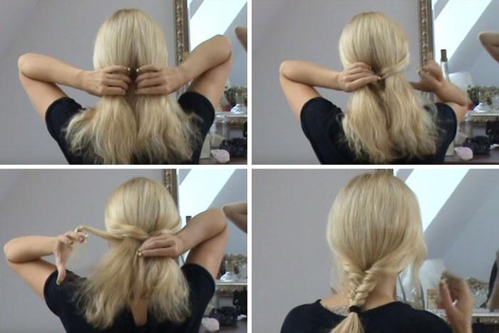 косички на длинные волосы самой себе