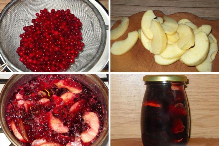 Варенье из яблок и брусники