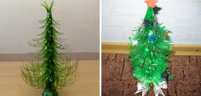 Новогодние елки из пластиковых бутылок