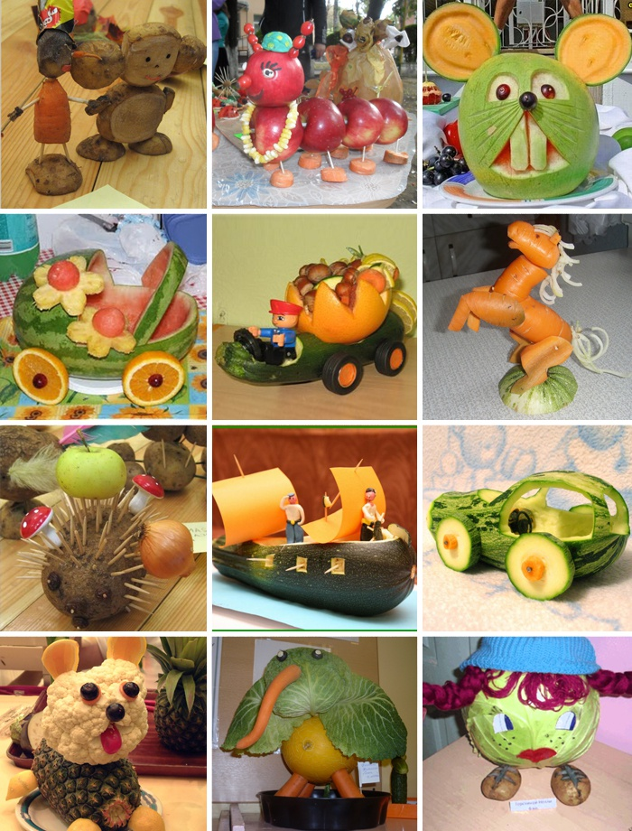 Детские поделки из овощей и фруктов (фото) Коробочка идей и