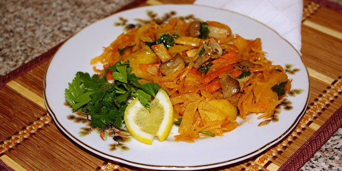 Рагу с овощами и шампиньонами