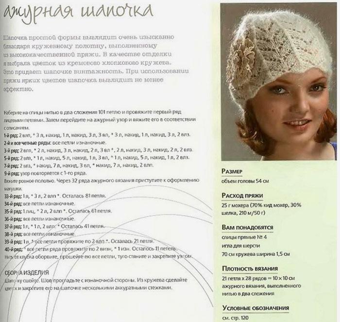 Красивая шапочка с цветком
