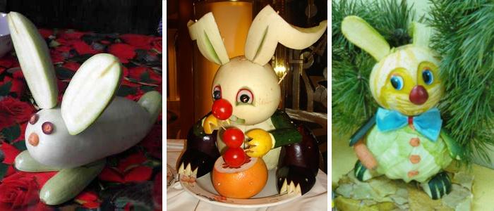 Детские поделки из овощей - зайцы