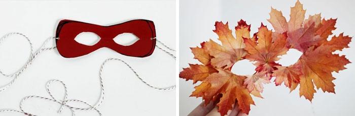 Маскарадная маска из листьев, сделанная своими руками