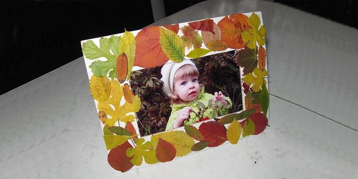 Рамка для фотографий, украшенная листьями деревьев