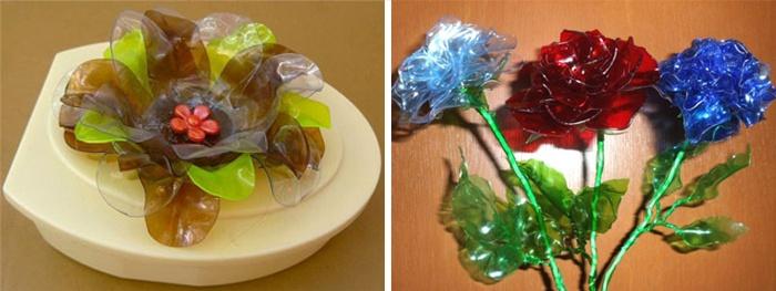 Красивые цветы из пластиковых бутылок, сделанные своими руками