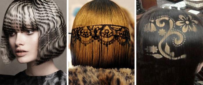 Как выглядит трафаретное окрашивание на волосах