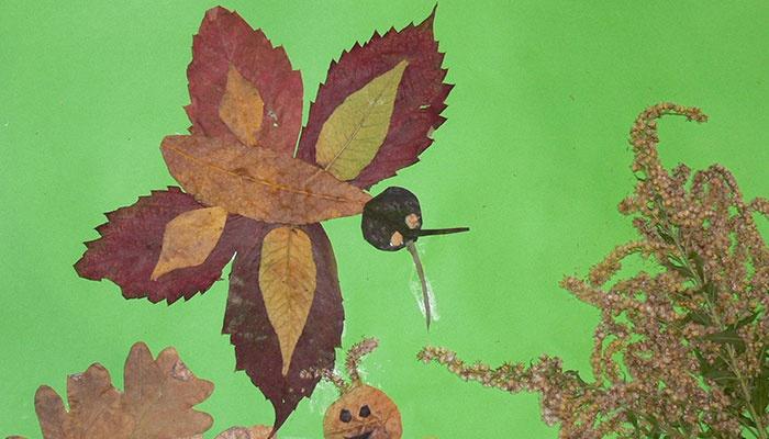 Поделка - бабочка из листьев