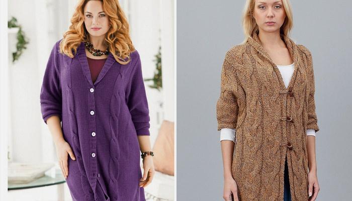 Кардиган-пальто для полных женщин