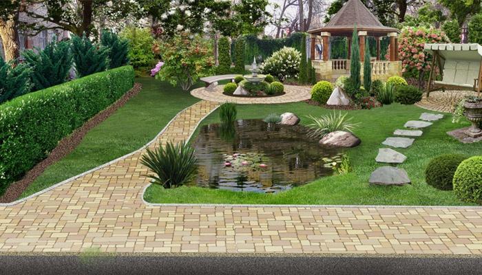 Ландшафтный дизайн большого двора