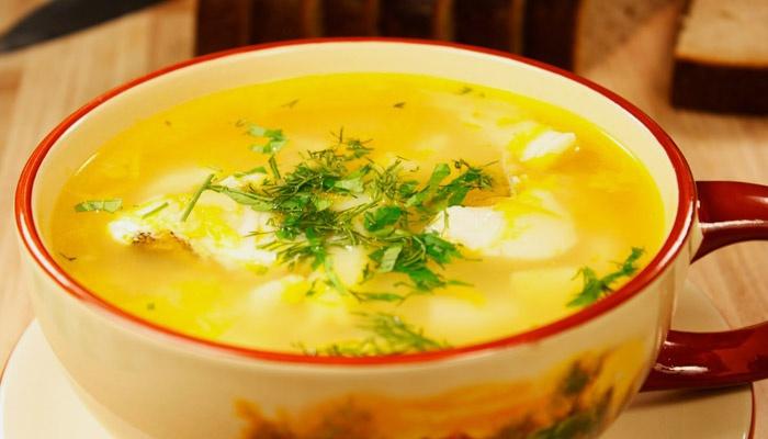Суп с сайрой и перловкой