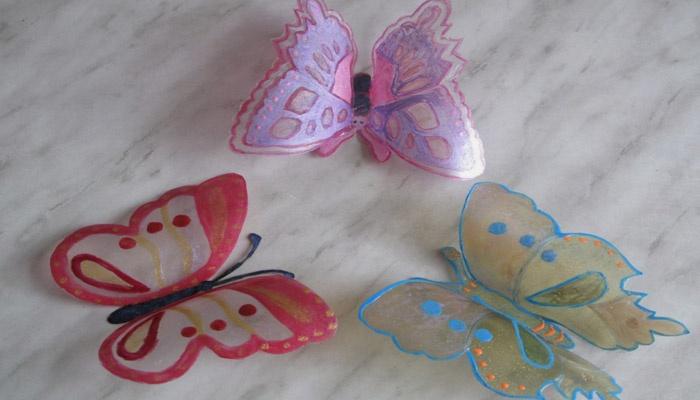 Пластиковые бабочки
