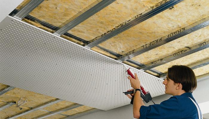 Монтаж звукоизоляции для потолка