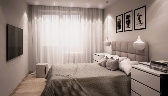 Dizajn malá spálňa s balkónom