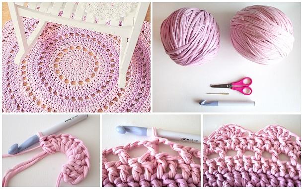 Вязанный коврик крючком на пол: варианты, виды, схемы вязания.