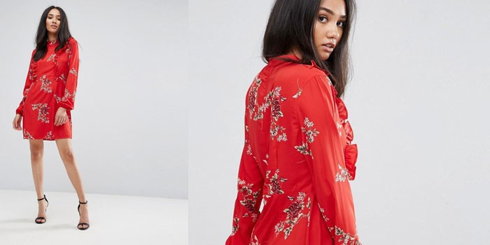 Девушка в платье красного цвета с цветочным принтом AX Paris 1154237