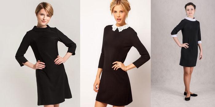 Три модели платьев для старшеклассниц черного и коричневого цветов