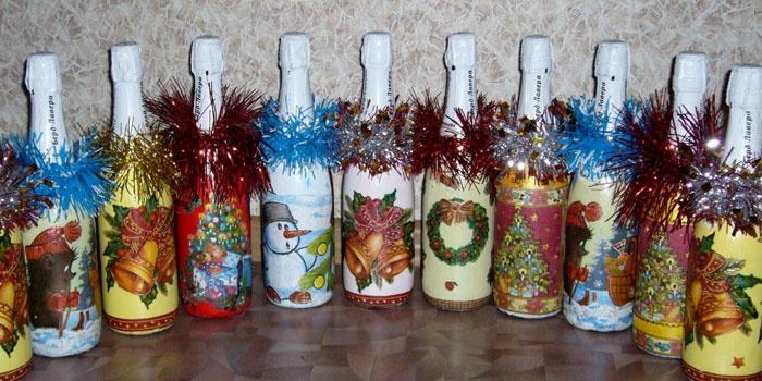 Декупаж бутылок шампанского к новогодним праздникам
