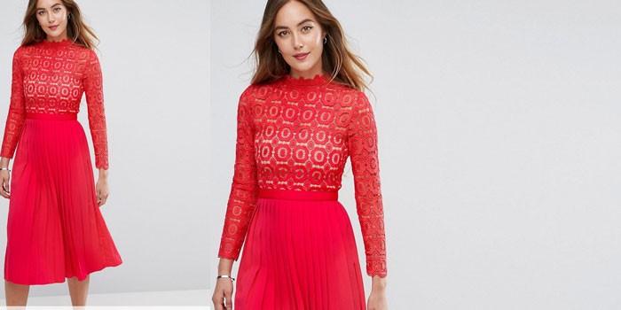 Девушка в красном платье с кружевным верхом Little Mistress Tall 1139624