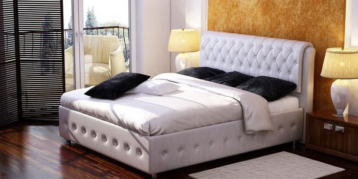 Белая двуспальная кровать с подъемным механизмом Орматек Como 4