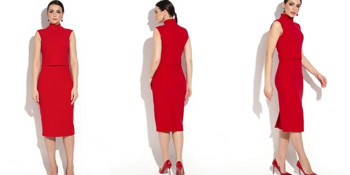 Девушка в красном платье длины миди от Donna Saggia DSP-268-29t