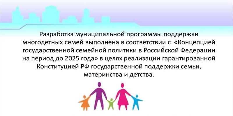 Программа государственной поддержки многодетных семей
