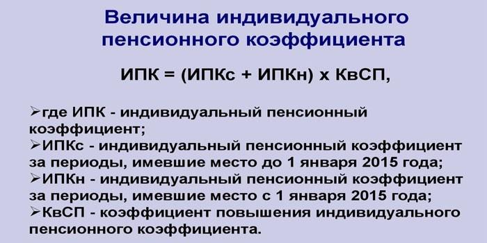 Формула исчисление ИПК