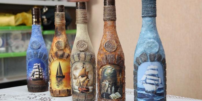 Бутылки декорированные в технике декупаж