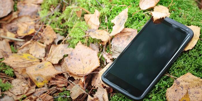 Смартфон лежит на траве