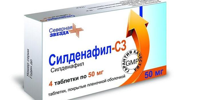 Таблетки Силденафил в упаковке