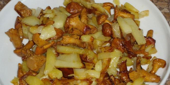 Жареный картофель с лисичками на тарелке