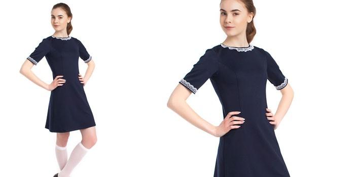 Синие школьное платье с коротким рукавом Успех