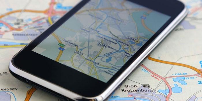 Смартфон на карте