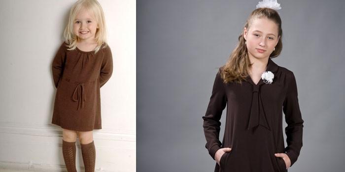Две модели платьев для девочек коричневого цвета