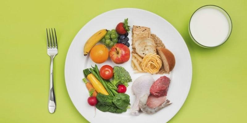 Составляющие правильного рациона питания на тарелке