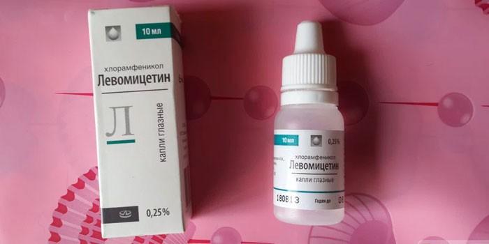 Глазные капли Левомицетин в упаковке