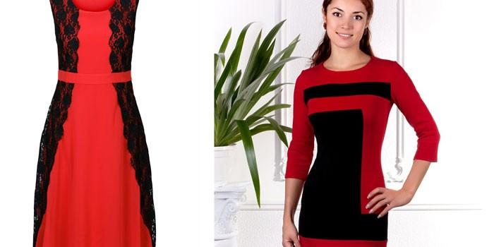 Две модели красно-черных платьев Bodyflirt 94191995 и Magic Style 3395836