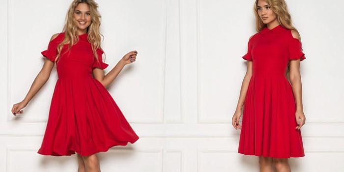 Девушка в платье малинового цвета SK House платье 2175