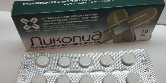 Таблетки Ликопид в упаковке