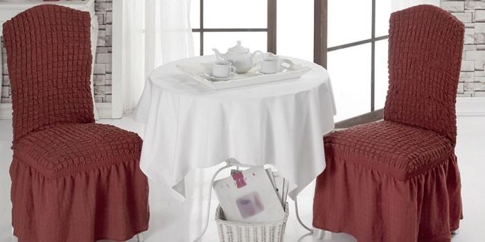 Чехлы с юбкой на стулья со спинкой KARNA NAPOLI