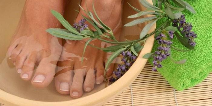 Ванночка для ног и ветка лаванды