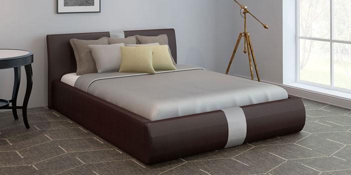 Мягкая двуспальная кровать с подъемным механизмом Флора