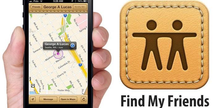 Приложение на телефоне «Find my friends»