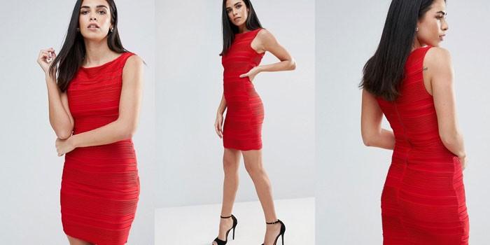 Девушка в красном платье-футляре Lipsy 1030953