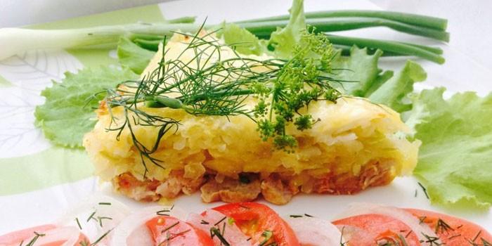 Готовая кабачково-картофельная запеканка