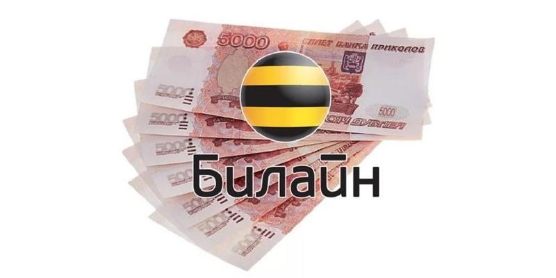 Денежные банкноты и логотип Билайн