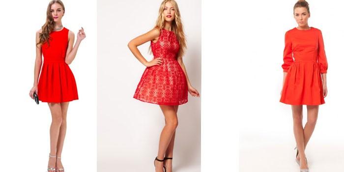 Девушки в коротких красных платьях