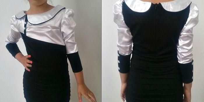 Школьное черно-белое платье с рукавом три четверти Юная леди