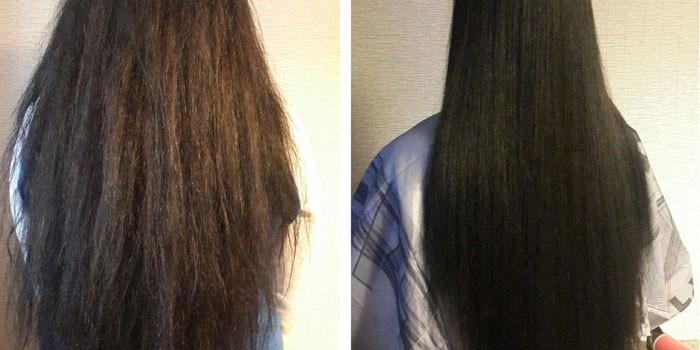 Волосы до и после процедуры кератинового выпрямления