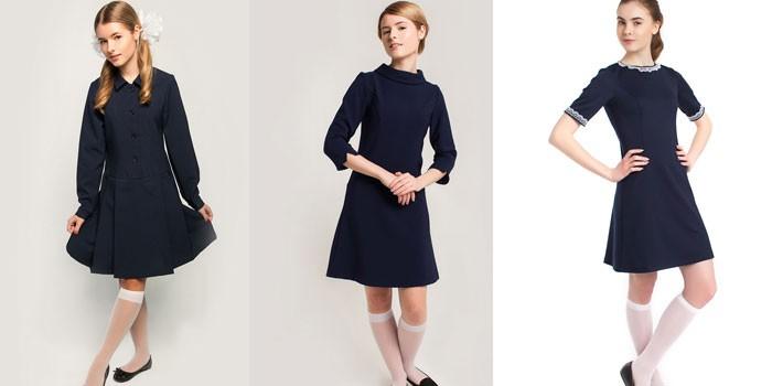 Три модели синих школьных платьев